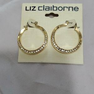 New Liz Claiborne Gold Hoop Earrings